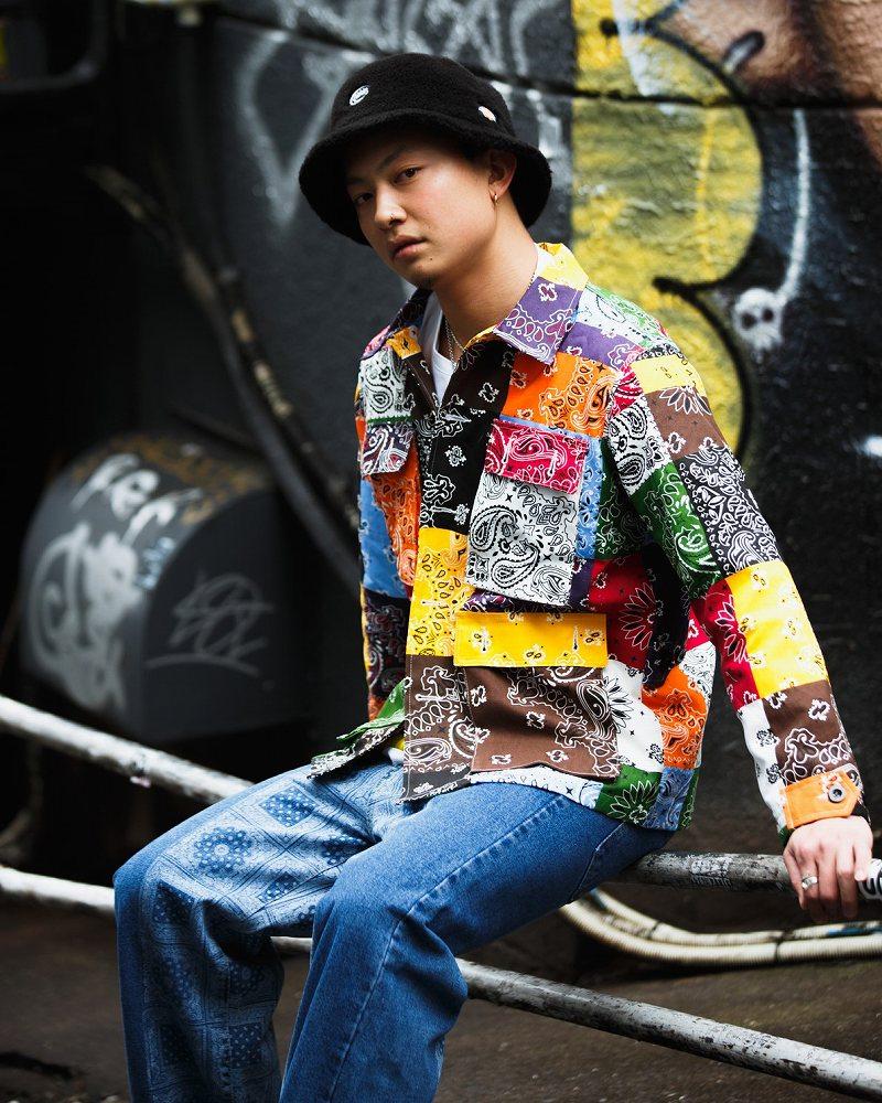 マルチカラーパッチワークバンダナシャツジャケットの画像1